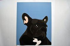 French Bulldog Art Print Blue 8x10