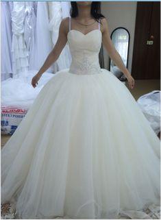 White Ball Gown Wedding Dress, Sexy Spaghetti Straps Lace up Wedding Gown, Bridal Dress P0233