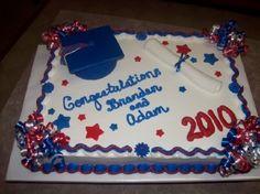 Graduation sheet cake - Buttercream with fondant accents - Cakes - Cake Design Graduation Cake Designs, Graduation Treats, Graduation Cupcakes, Cupcake Decorating Tips, Buttercream Decorating, Fondant Cakes, Cupcake Cakes, Stiff Buttercream Frosting Recipe, Cake Borders