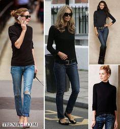 Черная водолазка в сочетании с джинсами. Неплохой вариант, однако должен быть крупный аксессуар. И Джинсы, и водолазкадолжны быть качественными и дорогими, а то будет не тонкая нотка демократичности и свободы, а подайте люди добрые