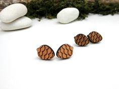 Pine Cone forest studs wood laser cut earrings via Etsy