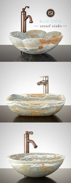 Wow your guests with a one-of-a-kind sink. The natural markings and colors of each blue onyx vessel sink is uniquely its own. Find one from Signature Hardware to fit your style.