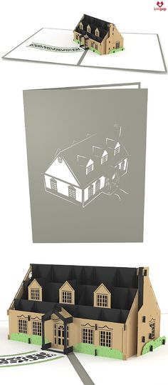 Celebrate a new home with a beautifully constructed paper art house. Or gift this pop up card to your realtor as a thanks! #dreamhome #homesweethome