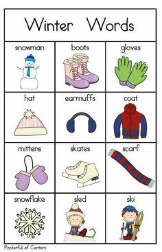 Winter Words for your Writing Center Kids English, English Words, English Lessons, Learn English, Grammar And Vocabulary, English Vocabulary, English Activities, Preschool Activities, Work Activities