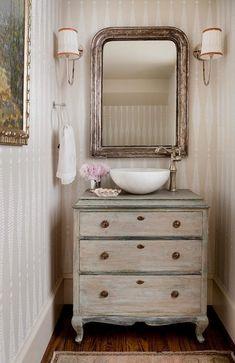 antique mirrors silver leaf over custom dresser vanity charming french country bathroom Bathroom Vanity Decor, Rustic Bathroom Vanities, Bathroom Styling, Bathroom Interior Design, Bathroom Furniture, Chic Bathrooms, Bathroom Mirrors, Rustic Furniture, Rental Bathroom
