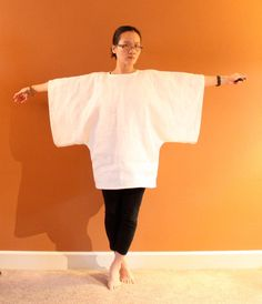 heavy linen wide kimono sleeve top made to by annyschooclothing