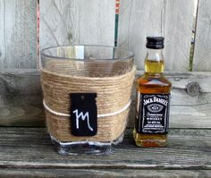 Rustic Wedding / Whiskey Glass / Gift for by CarolesWeddingWhimsy, (1) Rustic Whiskey Glass with a Chalkboard Mason Jar Tag for Monogramming - Perfect Gift for Groom or Gift for Groomsmen - Check it out here https://www.etsy.com/listing/205262362/rustic-wedding-whiskey-glass-gift-for