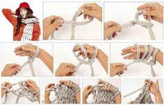Tejido Facil Paso a Paso Bufanda tejida con los dedos/ las manos!