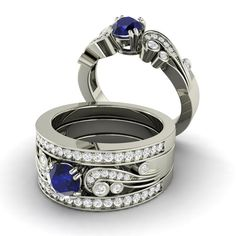 Sapphire Ring Engagement Sapphire and Diamond Ring by Diamondere, $1811.00