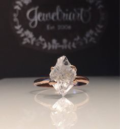 / Healing Crystal Ring/Free US Shipping Raw Rose Gold Herkimer Diamond Ring/Gorgeous Rough Uncut Uncut Diamond Ring, Raw Diamond Rings, Herkimer Diamond, Halo Diamond, Diamond Jewelry, Diamond Cuts, Gold Jewelry, Vintage Jewellery, Modern Jewelry