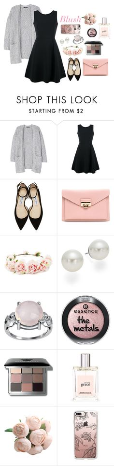 """""""Blush and black"""" by elizafaith on Polyvore featuring MANGO, Emporio Armani, Jimmy Choo, Forever 21, AK Anne Klein, Bobbi Brown Cosmetics, philosophy and Casetify"""