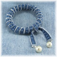Denim and Pearl Bangle Bracelet by LOC Design Studio, via Flickr