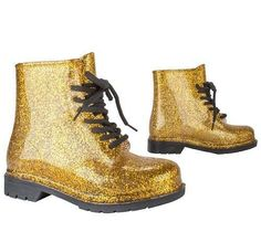 Gold Jelly Rubber Rain Boots Girls/Kids Military Style Youth Size 1, NWT #CRKIDS #JELLYBOOTS