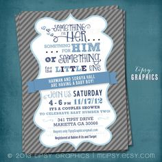 Something for the Little One. Couples Baby Shower Invite. By Tipsy Graphics. Any colors on Etsy, $16.00