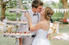 A high tea-style cake and dessert buffet was the centrepiece of this sweet boho picnic wedding. Garden Party Wedding, Wedding Day, Wedding Picnic, Garden Weddings, Diy Wedding, Wedding Cakes, Afternoon Tea Wedding, Picnic Style, Real Weddings