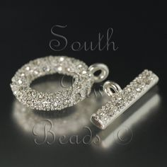 18mm pave crystal Toggle clasp, Silver with crystals via Etsy.