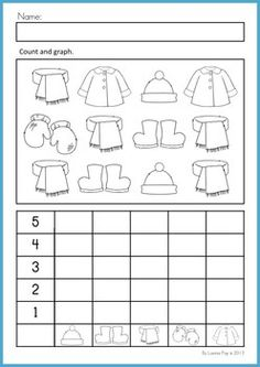 Kindergarten Winter Math Worksheets & Activities - Winter No Prep. A page from the unit: count and graph Preschool Worksheets, Math Classroom, Kindergarten Activities, Teaching Math, Preschool Activities, Preschool Graphs, Winter Activities, Math For Kids, Fun Math