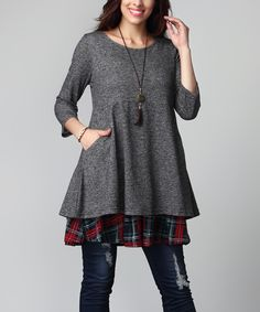 1X 2X 3X Charcoal French Terry & Red Plaid Layered Pocket Tunic - Plus
