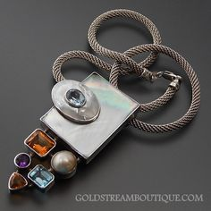 "AMAZING STERLING SILVER MOTHER OF PEARL INLAY PEARL CITRINE BLUE TOPAZ AND AMETHYST IN BEZEL SETTING ABSTRACT CREATION LARGE SLIDE PENDANT WITH 18.5"" MESH CHAIN NECKLACE – Gold Stream Boutique"