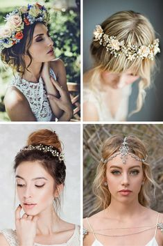 24 Amazing Wedding Flower Crowns & Hair Accessories ❤ Want to add something…