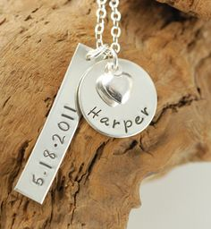 PERSONALIZED NECKLACE, MOMMY NECKLACE, HEART NAME JEWELRY, STERLING SILVER, HAND STAMPED JEWELRY  $82.00
