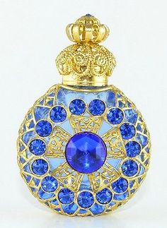 Vintage Perfume Bottle Aqua Blue Glass Gold Tone Filigree Faceted Blue Crystals