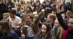 Protesterende studenten in het Maagdenhuis
