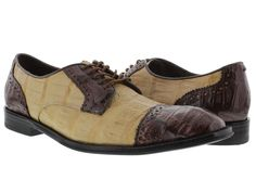 Men's dress shoes brown genuine crocodile alligator skin oxfords loafers beige