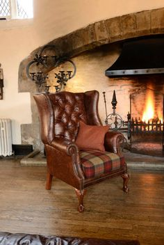 The dream chair. Leather Georgian Wingchair with a fabric tartan seat. By James and Rose Bespoke Upholstery Ltd.