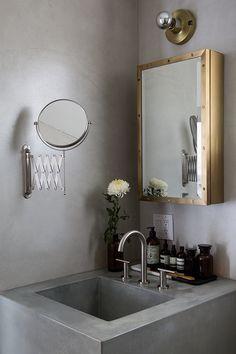 Concrete. Brass. Gold. Mirror. Industrial. Bathroom. Sink. Powder Room. Home. Interior Design.
