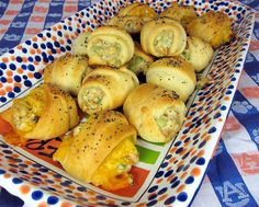 A-Day Snacks - Chicken Salad Crescents - Football Friday - Plain Chicken Finger Food Appetizers, Appetizer Recipes, Finger Foods, Party Recipes, Picnic Recipes, Picnic Ideas, Picnic Foods, Party Appetizers, Crescent Roll Recipes