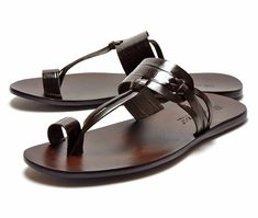 FABIANO RICCI Fabiano Rich 9000 men's leather sandals type push black co-dark brown
