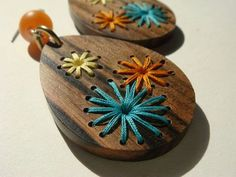 Retro Embroidered Wood Earrings                                                                                                                                                                                 More: