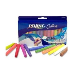 Amazon.com: Prang Ambrite Colored Chalk for Paper, Tapered, 3.188 x 0.438 Inches, Box of 12 Sticks, Assorted Colors (53012): Office Products
