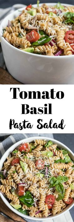 Tomato Basil Pasta Salad. Skip the same old pasta salad at your next BBQ and add lots of flavor with fresh basil, cherry tomatoes and freshly grated parmesan. #picnic #BBQ #pastasalad #pasta #avocado #summergrillout #recipe