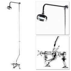 "Premier - Traditional 3/4"" Cranked Bath/Shower Mixer with Rigid Riser Kit - Chrome Plated"