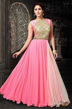 Pretty and charming, this pink anarkali is a perfect evening function dress! Buy it online - http://www.aishwaryadesignstudio.com/gripping-baby-pink-anarkali-with-mirror