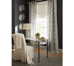 Got these window panels for the living room. Avery Linen/Cotton Print Drape | Pottery Barn