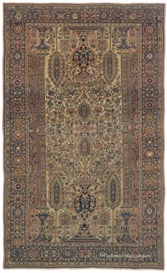 "FERAHAN VASE RUG, West Central Persian 4ft 0in x 6ft 7in 2nd Quarter, 19th Century  A sophisticated, understated palette and the glowing patina of great age lend substantial presence to this extraordinary, very early area size Ferahan antique rug. Its extremely delicate articulation of the much-sought-after ""Vase"" design places ornate urns alongside an array of formalized blossoms and architectural columns, resulting in an incredibly graceful, balanced composition. This strongly collectible"
