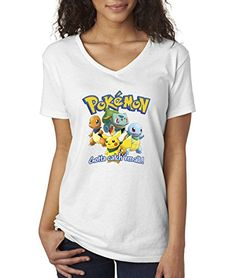 d1e0a5883 Women's V-Neck T-Shirt Pokemon GO Starter Pikachu Squirtle Charmander  Bulbasaur Medium White