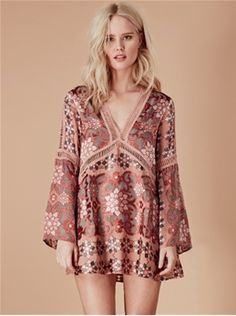 For Love & Lemons Juliet A-Line Dress in Maroon