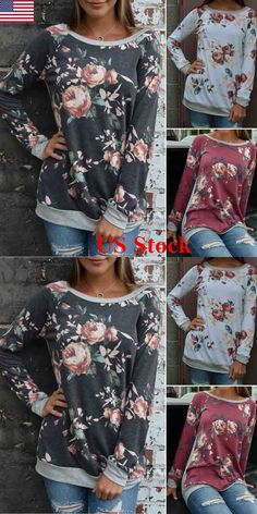 Women Tops Blouses: Us Fashion Womens Long Sleeve Casual Tops Ladies Loose Floral Blouse Top T Shirt -> BUY IT NOW ONLY: $2.68 on eBay!