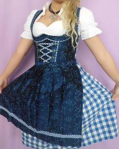 New Oktoberfest Bavarian German Trachten Dirndl Dress 3pc Sz 14 16 Blue White US   eBay