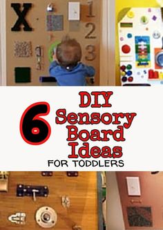 """6 DIY Sensory Board (Busy Board/Activity Board) ideas for toddlers. Yep, you can make these yourself with """"upcycled"""" things from around your house."""