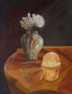 Original Still Life Painting by Meil Ildiko Mecseri Oil On Canvas, Canvas Art, Original Art, Original Paintings, Flower Lamp, Flower Table, Photorealism, Light Table, Lamp Light