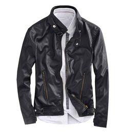 men casual leather jacket 2015 Autumn England Style Korean Slim Stand Collar Zipper Design Jacket Coats Men