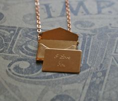 Brass Envelope Charm by Chain Chain Chained via Uncovet