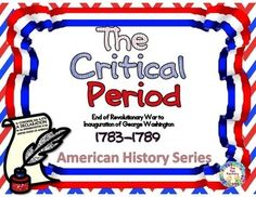 The Critical Period of American History refers to the time right after the American Revolution  to the inauguration of George Washington as our first president in 1789.   If you are looking for an interactive way to review the Critical Period, this product is for you! This is part of an American History series we will be offering in our store.  This review is great for preparing for standardized tests,  working in pairs, groups or excellent for individual center work.