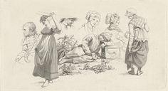 Jacob Ernst Marcus | Studieblad met een slapende jongen en figuren, Jacob Ernst Marcus, 1808 | Studieblad met een op de grond, tussen planten, slapende jongen. Daaromheen verschillende vrouwelijke figuren en links een zittende soldaat.