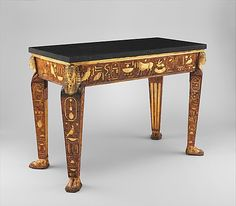 1775-1780 Italian (Rome) Table at the Metropolitan Museum of Art, New York - This table is covered with Egyptian hieroglyphs; however, as I do not know how to read them, I would not know whether they say anything cohesive or would actually be nonsensical symbols chosen for their beauty.